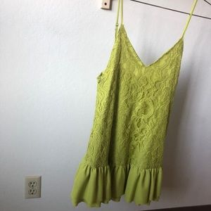 Lovers + Friends Green Lace Mini Dress